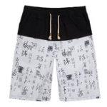 Оригинал КитайскийстильМужскаяхлопчатобумажнаялентаПечать коленчатых шорт