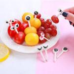 Оригинал 10шт Мини-мультфильм Ant Eye Fruit Fork набор для тортов для вечеринки Десерт Food Toothpicks Посуда Bento Коробка Decor
