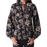 Оригинал Элегантная флористическая блузка V-образным вырезом для Женское