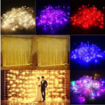 Оригинал 3M 10W 300LED 8 режимов Window Curtain Icicle String Fairy Holiday Light Свадебное Party US Plug AC110V