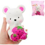 Оригинал Мышь Strawberry Squishy 13 * 10 * 8CM Медленный рост с подарком коллекции упаковки Soft Toy