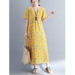Оригинал Повседневный Женское Цветочный печатный короткий рукав V-образным вырезом Платье