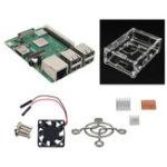Оригинал 4 в 1 Raspberry Pi 3 Модель B+ (Plus) + Акрил Чехол + Вентилятор охлаждения + Теплоотвод Набор