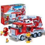 Оригинал BanBao Fire Fighting Ladder Truck Bricks Обучающие строительные блоки Модель игрушек, совместимая с Le go