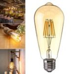 Оригинал E27 6W Dimmable Warm White ST64 LED COB Винтаж Резиновая лампа накаливания Edison AC220V