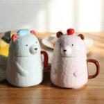 Оригинал МедведьКерамическийКружка400млКофейный фарфор с кружкой для молока Кубок для молока Чай