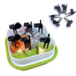 Оригинал 6Pcs Mini Animal Fork Picks Cute Cartoon Black Кот Детский винт Toothpick Bento Lunch Коробка Декоративные аксессуары