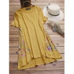 Оригинал Винтаж Женское Цветочные печати O-шеи с коротким рукавом блузка