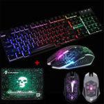 Оригинал LED Подсветка игровой клавиатуры + 2400DPI Мышь Наборы + Мышь Pad USB Проводная клавиатура