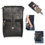 Оригинал Men High Capacity Portable PU Leather Messenger Bag Waist Bag For Mobile Phone Under 6 Inches