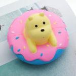 Оригинал Giggle Squishy Donut Bear Slow Rising Toy Kawaii Jumbo 15см Белый медведь с ароматом Кукла