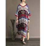Оригинал Loose Cotton Bohemian V-образным вырезом три четверти рукава Платье