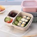 Оригинал ПшеничнаясоломаLunchbox3Сеткис крышкой Фруктовая еда Коробка Хранение Контейнер Биоразлагаемый обед Bento Коробкаes Для посуды