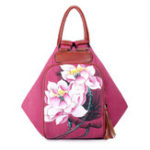 Оригинал Brenice Women Canvas Backpack Travel Bag Print Lotus National Shoulder Crossbody Bag