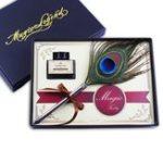 Оригинал 0,5 мм Fine Nib Peacock Feather Quill Dip Ручка Набор для набивки чернил с канцелярскими принадлежностями Коробка Gift / Ink Bottle