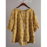 Оригинал Женское Повседневная свободная ретро цветочная блуза для печати