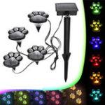 Оригинал Солнечная Мощность 4 LED Собака Печатная лампа для животной лапы для На открытом воздухе Сад Путь