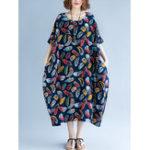 Оригинал Loose Cotton Linen Raglan Рукава с перьевым принтом Maxi Платье