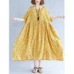 Оригинал Loose Cotton Linen Elastic Waist A-line Maxi Платье