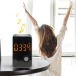 Оригинал Musky DY38 Bluetooth Звуковая зеркальная сигнализация Часы Беспроводная связь Bluetooth Динамик с функцией FM Радио