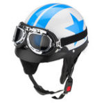 Оригинал мотоцикл One Face Half Helmet 3 Button с солнцезащитными очками Blue White