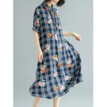 Оригинал Cotton Floral Print Short Sleeve Plaid Рубашка Платье
