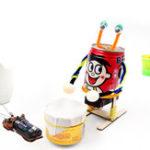 Оригинал DIY Электрический барабанный робот образовательных научных изобретений игрушки наборы для детей