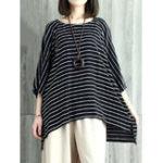 Оригинал Женское O-образным вырезом Batwing Sleeves Stripe Loose Blouse