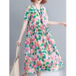 Оригинал Casual Женское Хлопок Loose Print O-Шея с коротким рукавом Платье