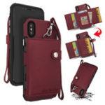 Оригинал BakeeyКошелекзащитныйЧехолсремешком для iPhone X PU кожаные слоты для карт карманные