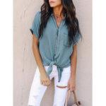Оригинал Повседневная Женское Loose Short Sleeve Button Denim Shirts