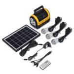 Оригинал 100-240V 3000mAh Перезаряжаемый LED MP3 FM Солнечная Панель Power Lighting Зарядная система Set