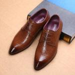 Оригинал МужскаяодеждаComfyКожаPointedToe Business Formal Shoes