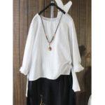 Оригинал Женское Винтаж Полосатая длинная рукавная нерегулярная блузка