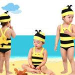 Оригинал Детский купальник Lovely Honey Bee Hot Spring Holiday Плавательный костюм Baby Купальный костюм