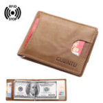 Оригинал МужчиныRFIDАнтимагнитныеНатуральнаяКожаДержатель карты Money Clip Модный кошелек