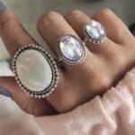 Оригинал 3Pcs / set Заявление Серебряное кольцо цвета Набор Большой камень драгоценного камня