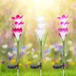 Оригинал Colorful 4 LED Водонепроницаемы Светлый контроль Солнечная Светлый цветок лилии Ландшафт Лампа для На открытом воздухе Сад