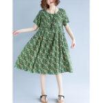 Оригинал Винтаж Короткая рукава с эластичной талией Цветочная Платье