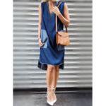 Оригинал S-5XL Casual Женское Loose V-Neck Denim Платье с карманом