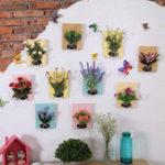 Оригинал DIYИскусственныецветыдляукрашенияДеревянная доска стены Висячие искусственные цветы Пластиковые шелковые цветы для Свад