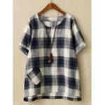 Оригинал Повседневная Женское Хлопчатобумажная льняная рубашка с длинным рукавом с длинным рукавом
