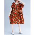 Оригинал Loose Винтаж Цветочные печатные карманы A-line Платье