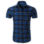 Оригинал Мужская мода Plaid Printing Turn Down Collar Casual Shirts