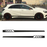 Оригинал 2Pcs 220×11.5cm Long Stripe Graphics Авто Наклейки Off-Road Side Vinyl Decals Black