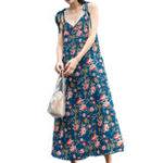 Оригинал Casual Женское Loose Floral Print V-образным вырезом Платье