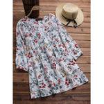 Оригинал Винтаж Цветочные печати плиссированные O-образным вырезом 3/4 рукава блузка
