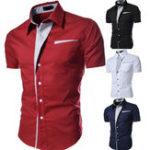 Оригинал ЛетняястильнаяскороткимрукавомТонкий Button up Дизайнерские рубашки