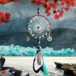 Оригинал Green Beads Dream Catcher Wind Chimes Lace Style Feather Pendant Ornaments Handmade Dream Catcher  Jewelry Pendant Car Home Decoration Crafts Gifts