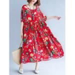 Оригинал Хлопок Цветочная печать O-образным вырезом Эластичная талия Maxi Платье